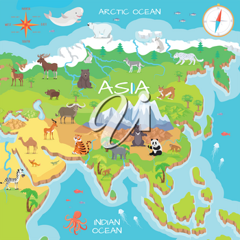Asia mainland cartoon map with fauna species. Cute asian animals flat vector. Northern predators. Mountain species. Jungle wildlife. Indian ocean life. Nature concept for children s book illustrating