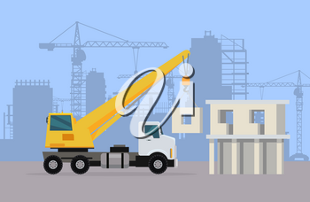 Truck crane on background of building area. Vector in flat design. Industrial transport. Construction machine. Big lorry with telescopic hoist. For construction theme illustrating, building companies