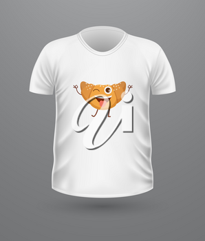 T-shirt front view with food isolated. Realistic t-shirt vector in flat. Ice cream characters boy and girl, doughnut, croissant. Casual wear. Cotton unisex polo outfit. Fashionable apparel