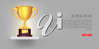Super golden cup with two handles. Real award. 3d icon. Contemporary great shiny, glossy and brightly prize on brown base. Win. Achievement. Flat design. Vector illustration