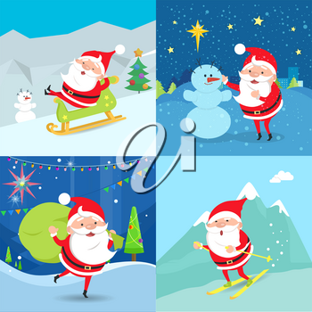 Collection of Santa Claus Characters. Four Banners. Santa riding a sleigh. Santa standing near snowman. Santa Claus waving and holding green sack of presents. Santa moving down from mountains. Vector