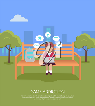 Game addiction banner. Girl whis laptop sitting on wooden bench in the park. Girl with dialog window. Girl using laptop. Urban cityscape with girl, park, bench, trees, blue sky and white clouds.