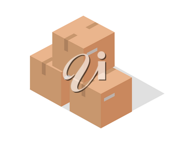 Cargo paper boxes isolated on white. Isometric 3d cartoon boxes. Carton box, paper box, cartoon frame, warehouse box, cardboard container isometric, cargo carton box. Vector illustration