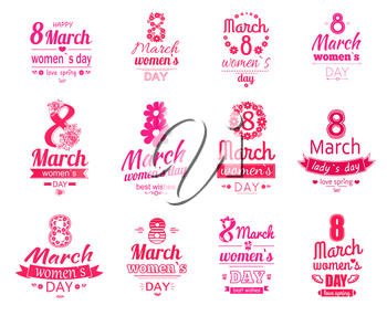 Happy 8 March women day posters set. Love spring holiday. Best wishes for mothers, adorable daughters, lovely sisters. Vector set of logotypes and stickers for international holiday celebration