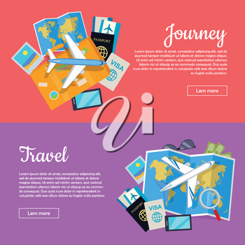 Journey and travel web banner. Tourist attributes. Informative vector poster for journey and traveling. Set of tourist things. Plane, visa, passport, map. Trip concept collection illustration.