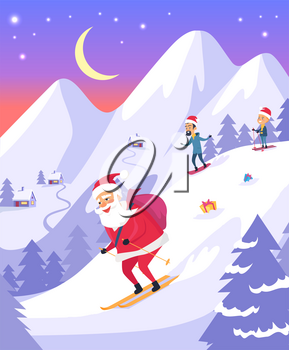 Christmas Santa Claus with red bag of presents is sliding down snowy mountains in evening. Vector cartoon illustration in hills covered with snow, people on skis, houses, spruces in flat style.