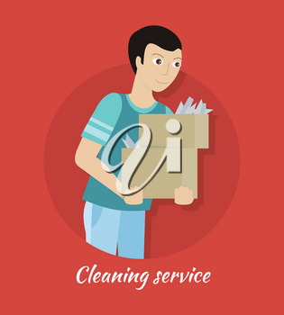 Cleaning service concept vector. Flat style design. Smiling man character carrying boxes with house rubbish. Small private business. Illustration for housekeeping companies and services advertising