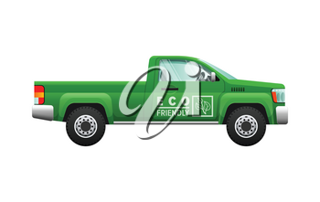 Transport. Picture of isolated green classical pickup. Ecologically clean car with two doors. Useful and cheap mean of transportation. Four-wheeled automobile in cartoon style. Flat design. Vector