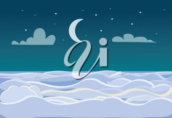 Winter scenery of field on dark night background. Bright stars and moon are on sky. A lot of snow make an illusion of white waves at sea or ocean. Inhabited area under firmament vector illustration