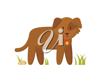 Brown dog with red collar standing on grass character in cartoon style. Faithful farm animal and pet flat vector illustration on white background.