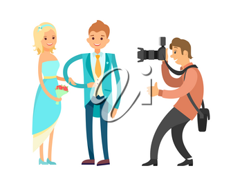 Groom in blue suit and bride wearing wedding dress and holding bouquet, digital camera vector isolated. Marriage photo session of newlyweds by photographer.