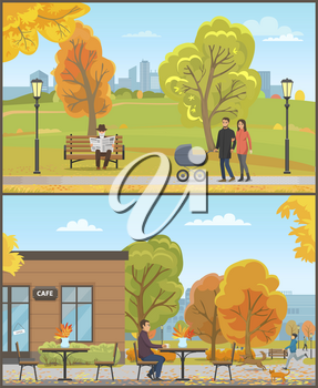 Man sitting by table and drinking coffee beverage from cup. Cafe in autumn season set vector. Family with pram, old person reading newspaper on bench