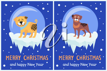 Merry Christmas and happy New Year banners set with cute puppies on snowy glass balls with ice greeting cards design with text on snowflakes backdrop
