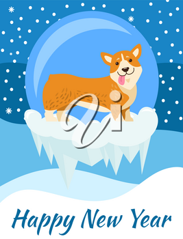 Happy New Year congrats from corgi, poster on snowflakes covered with falling snow. Vector illustration with cute smiling pet as symbol of holiday