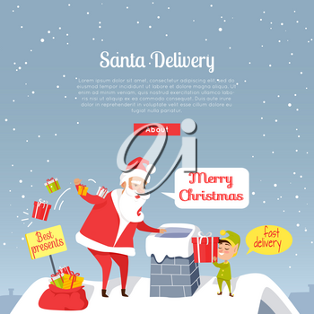 Santa Christmas and fast delivery of best presents. Santa Claus throwing presents in chimney. Cartoon Santa and dwarf standing on roof of house, gnome gives gift box. Holiday vector web banner.