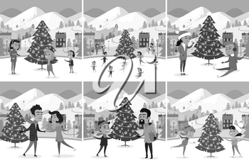 Monochrome set of happy people ice-skating on ice rink. Vector illustration of different families friends master or studying figure skating among Christmas tree mountains and houses in small town.
