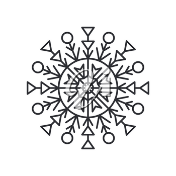 Snowflake silhouette of circular shape with lines and triangles, and circle in centre, schematic crystal object, colorless vector illustration