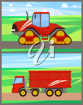 Tractor and grain truck set vector. Field works of agricultural machinery and automation devices. Agrimotor with cabin and van transportation harvest