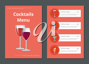 Cocktail menu advertisement poster with closeup of wineglasses, vector illustration of drinks ingredients, types and price on red background