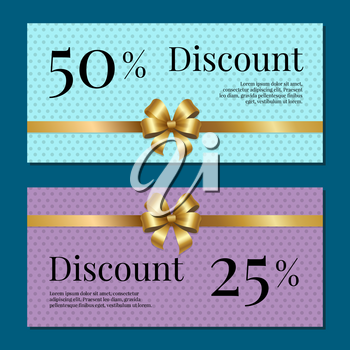 Discount on 50 25 percent set of posters with gold ribbons and bows on abstract purple and blue. Gift certificates vouchers with place for text