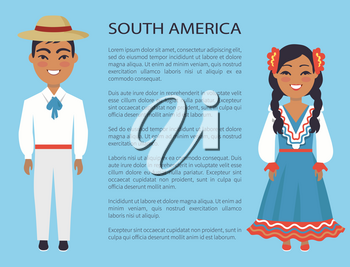 South america, culture and customs represented by man wearing hat and white costume and woman dressed in blue vector international day poster with text