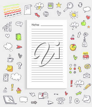 Notes and collection of icons representing different things including marks and food, gadgets and diagrams on vector illustration isolated on white