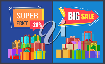 Super price big sale posters with gift boxes and rectangular and arrow shape labels, vector illustration of advertisement leaflets on blue background