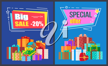 Big sale special offer promotion on blue background. Vector illustration with discount advert surrounded by presents wrapped in festive paper gifts