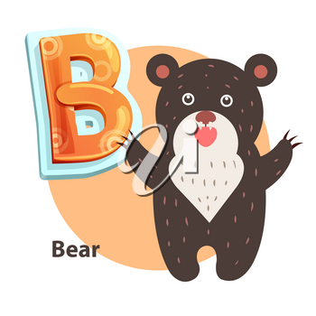 Bear word for B letter or sound spelling and remembering. Children vector alphabet flashcard isolated with cartoon character roaring taliped beary.