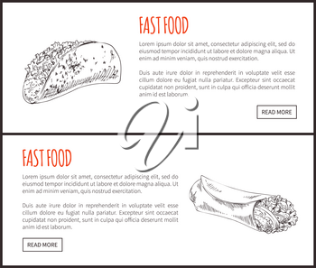 Fastfoot posters set with Mexican taco dish and hot dog. Meal with sausage and vegetables. Monochrome sketches outline takeaway vector illustration