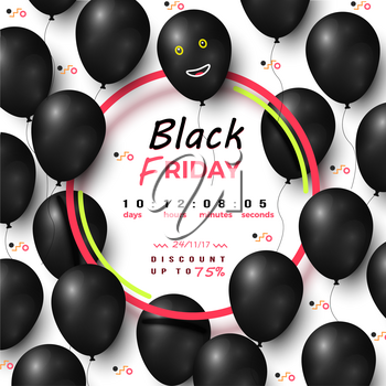 Black friday timer discount up to 75 percents vector illustration of advertising banner with dark balloons collection, smiling face and color circles
