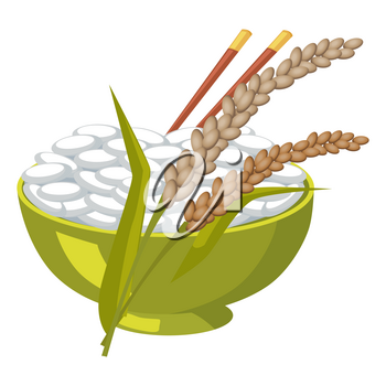 Green bowl with rice and chopsticks near its ears isolated on white. Vector illustration in flat design of healthy agricultural cereals