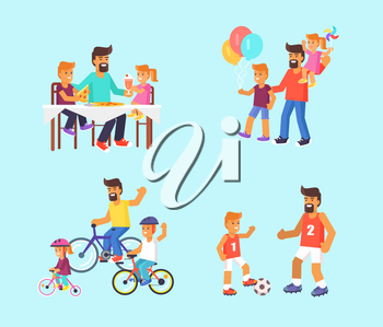 Fathers day poster with children eating out pizza, visiting amusement park, riding bike, playing football. Vector illustration of activities with dad