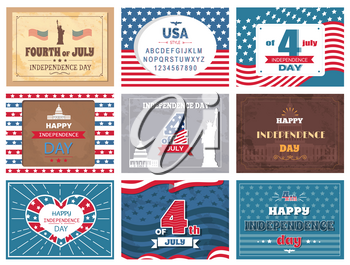 American national holiday, 4th of July collection of colorful greeting cards with traditional sightseeings and flag. Independence day template