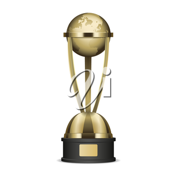 Golden trophy cup with planet Earth graphic icon. Vector illustration of realistic trophies isolated on white. Gold reward on black base with nameplate. Hand drawn pattern cartoon style flat design.