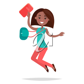 Jumping African girl student in turquoise shirt, pink trousers and black shoes notebook, bag and broad smile isolated on white background. Emotion of happiness expression vector illustration.
