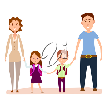 Happy cartoon family hold hands together isolated on white background. Friendly parents with first grade kids in school uniform with rucksacks. Important day in children life vector illustration.