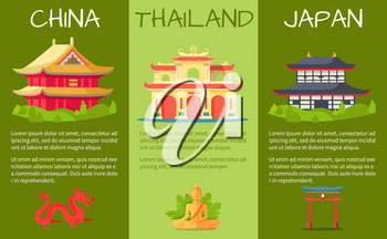 Asian countries touristic banners set. Ancient temples in oriental style with sacral monuments flat vectors. China, japan and Thailand architecture attractions illustration for travel company ad