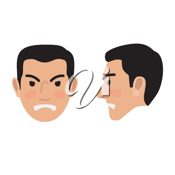 Angry brunet man face icon. Male head in full face and profile view with clenched teeth and frowned eyebrows flat vector isolated on white. Human negative emotions illustration for people infographics