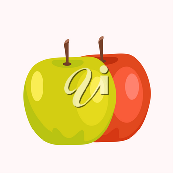 Red and green apples isolated on white background. Tasty organic fruits vector illustration. Harvest of fresh plants in gaming concept. Vegan food in flat design cartoon style, delicious sweet fruit