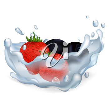 Fresh ripe strawberries and blueberries drop in pure water with big splash isolated vector illusration on white background.