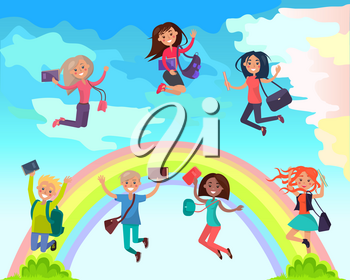 Happy boys and girls multinational characters with textbooks and backpacks jumping on colorful rainbow flat vector. Happy students cartoon illustration for educational or summer holidays concept