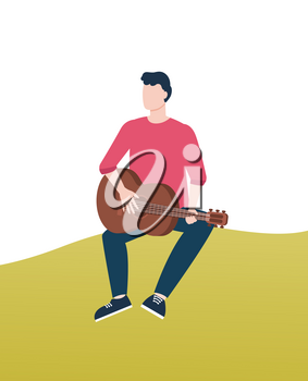 Person playing guitar sitting on green lawn vector, guitarist holding string acoustic instrument expressing himself. Hobby and relaxation on nature