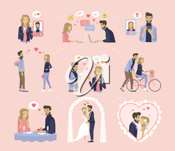 Couple relationship, dating and wedding vector. Online messaging, bouquet and ice cream, bicycle riding and proposal in restaurant, marriage ceremony