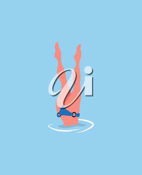 Woman diving legs up, diver in bikini suit isolated in blue sea waters. Vector girl snorkeling, beautiful feets above head, person relaxing at resort