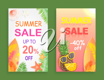 Summer sale reduction off price set of promotional posters vector. Surfboard and starfish, palm tree leaves and pineapple with sunglasses,,  accessory