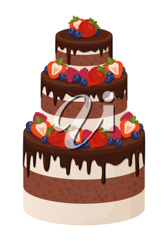 Three-tier cake with chocolate and cream layers decorated with ripe sweet strawberries isolated cartoon flat vector illustration on white background.