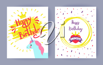 Two happy birthday, princess vector illustrations isolated on white backdrop, lot of confetti, yellow abstract circle, unicorn head, cute golden crown