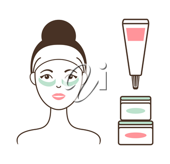 Woman in headband with soft cream under eyes against dark circles and jars with lotions isolated cartoon vector illustrations on white background.
