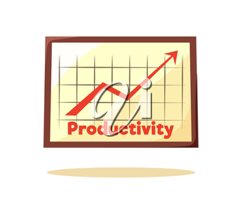 Productivity graphic card vector illustration of schedule with big red rising up arrow, squared field, text sample, brown frame isolated on white